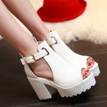 2015 nuevo llegada de la alta calidad mujer de zapatos de verano Sexy Peep Toe hebilla recortes sandalias con plataforma gruesa plataforma tacones altos 3