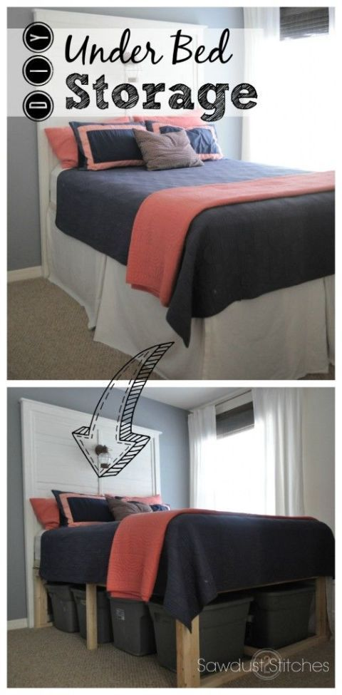 This DIY bed skirt is extra long to help conceal a mounted mattress and tubs of storage underneath. Then, all you'll see is a tall and tasteful bed. Click through for this and more under-bed organization ideas.