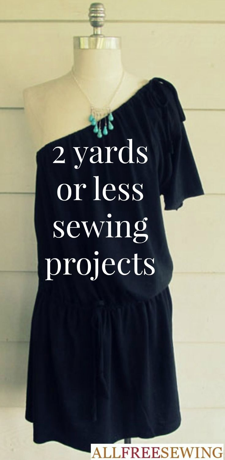 These free sewing patterns use two yards of fabric or less  Filled with ideas for free bag patterns  girls skirt patterns  and other free sewing ideas  this comprehensive list of sewing projects is your one stop shop for two yard projects