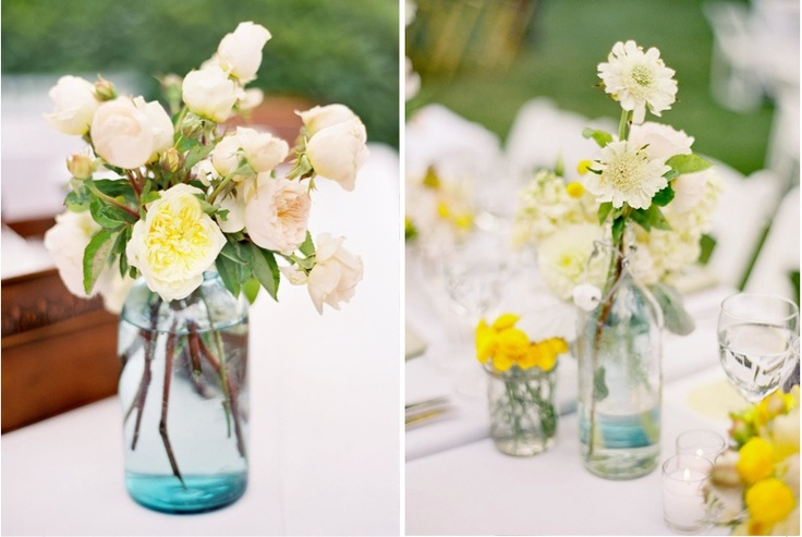 Natural flowers, clear vasesMason Jars
