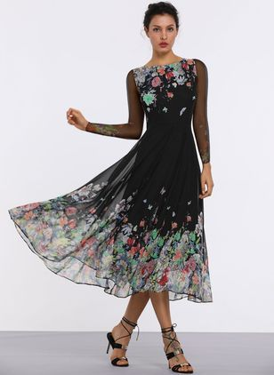 6caeb2b726c2 Floral Long Sleeve Midi A-line Dress (1100200)