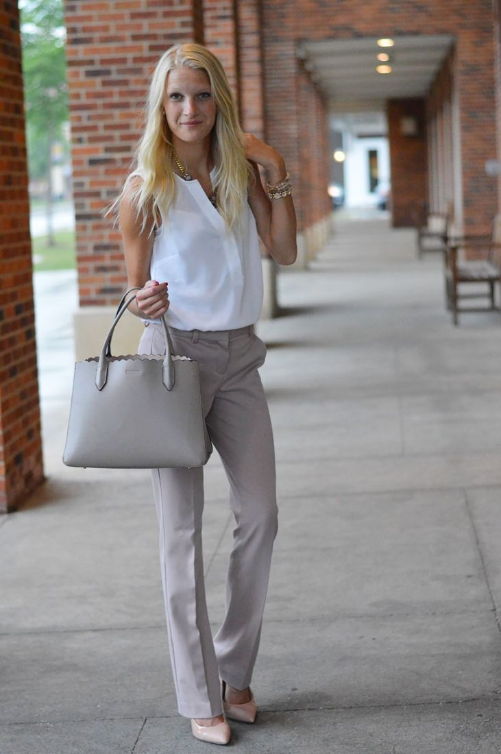 Neutral Chic Suit Pants Outfit Fashion Trend Work Summer Work Outfits Dress Pants Outfits [ 1100 x 731 Pixel ]