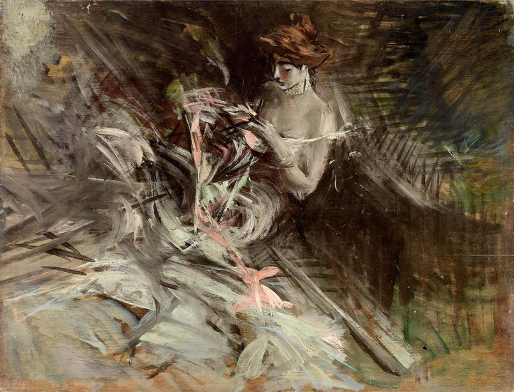 The Ball Gown (Interior with Young Girl Sewing) . Giovanni Boldini
