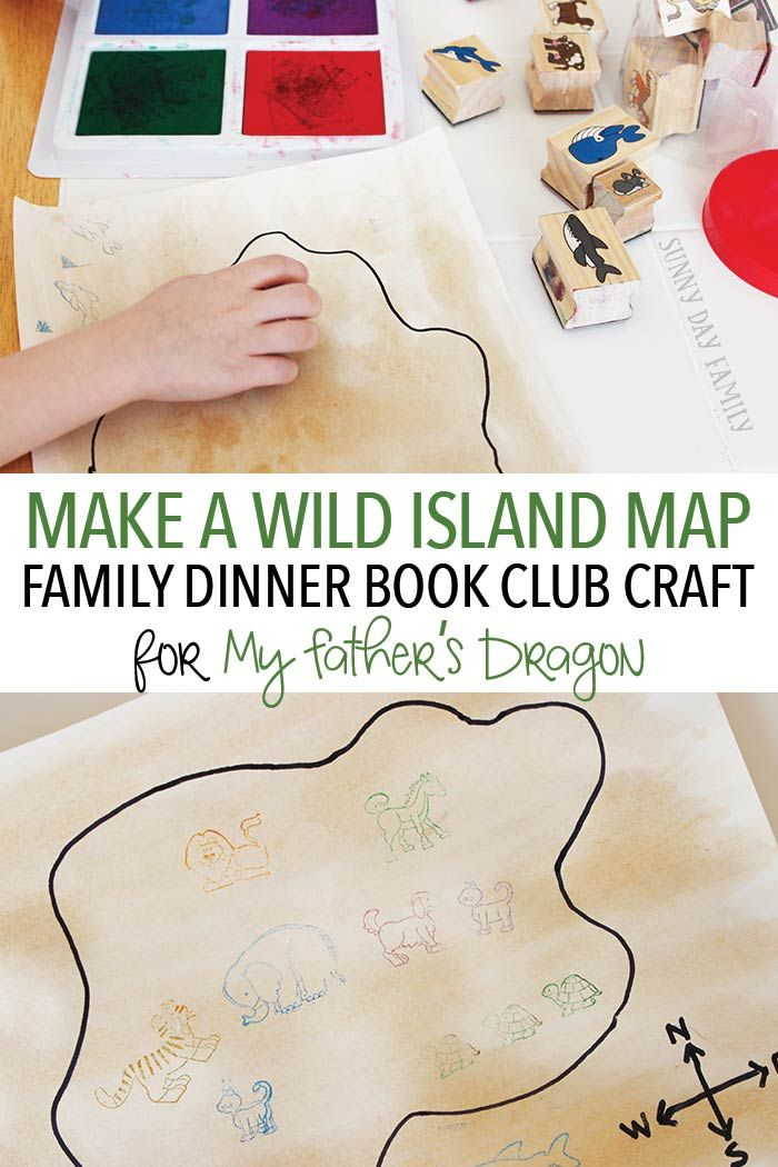 Make a Wild Island Map - an easy and open ended craft project for kids inspired by the book My Father's Dragon. This easy map craft is fun for all ages and is perfect for Family Dinner Book Club night!