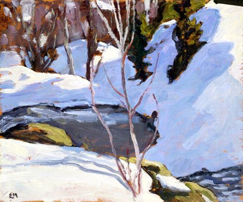 """""""The Pool,"""" Edwin Holgate, 1965, oil on panel, McMichael Canadian Art Collection."""