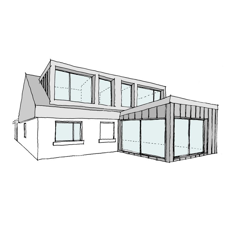 Modern Bungalow. This is an early concept sketch for a bungalow conversion we are doing in Corbridge, Northumberland. The new extension's roof and the dormer windows will be pitched ten degrees upward, to allow for much bigger openings. This will provide a stronger connection with the outdoors as well as larger and more interesting internal volumes.
