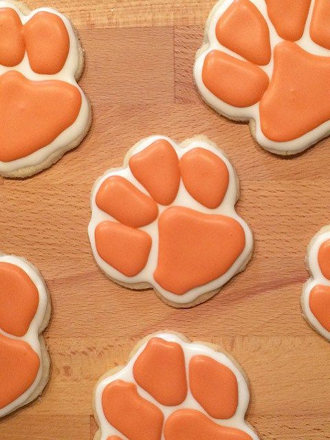 Clemson Tiger Paw Cutout Cookies Sport Cutouts