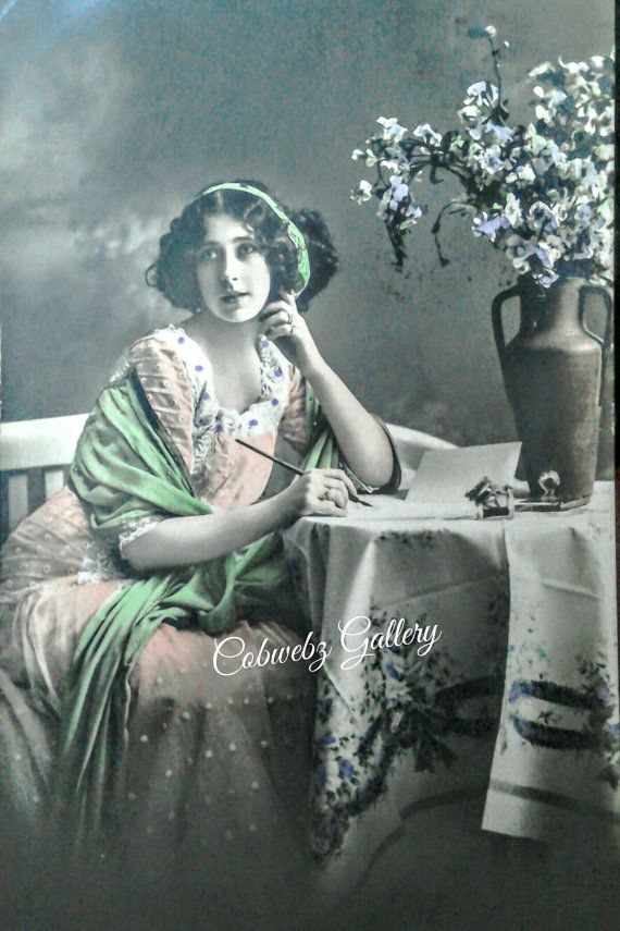 Vintage French actress seated writing pose, hand tinted postcard, scrapbooking, make your own Card, digital download
