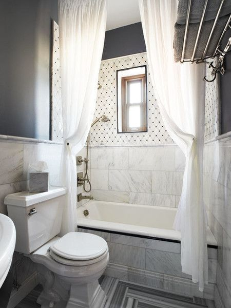 contemporary white gray bathroom with two extra long shower curtains hung close to the ceiling - Shower Curtain Design Ideas