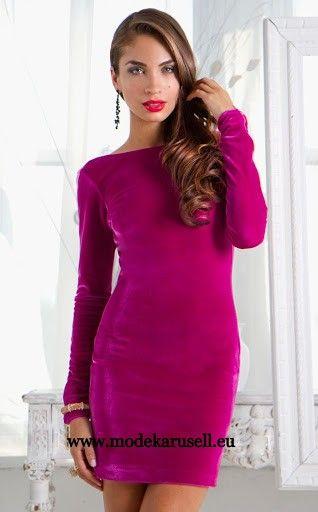 Langarm Abendkleid Cocktailkleid in Pink