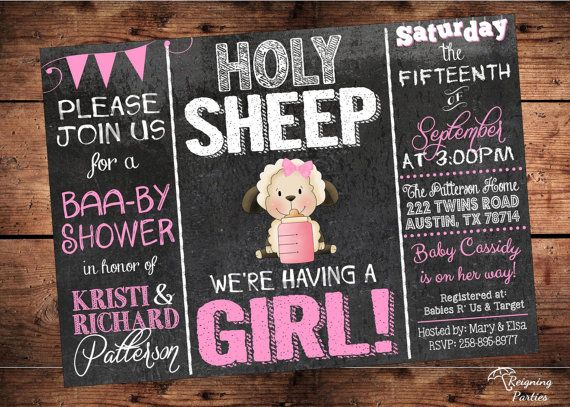 Holy Sheep it's a Girl  Baby Shower Invitation  by ReigningParties, $20.00