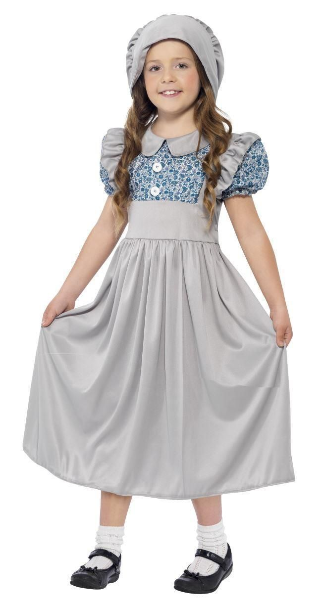 GIRLS VICTORIAN SCHOOL GIRL COSTUME WORLD BOOK DAY KIDS 19TH CENTURY FANCY DRESS | eBay