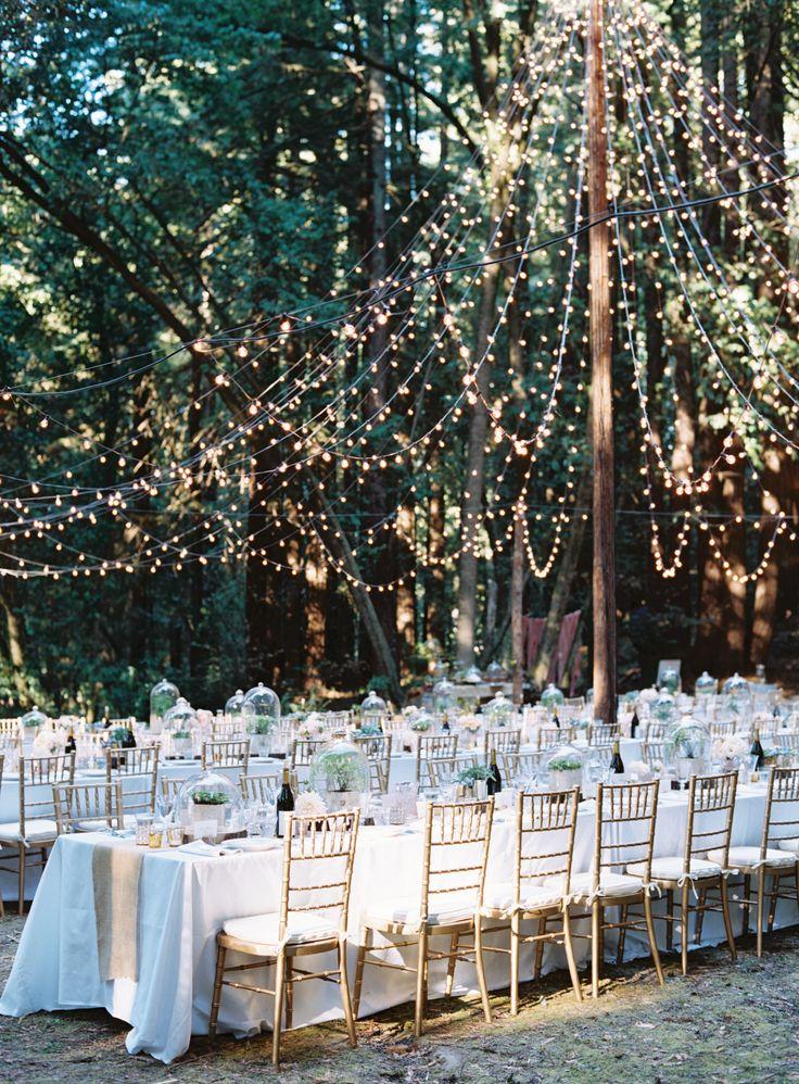 DIY String Lights Reception Tent