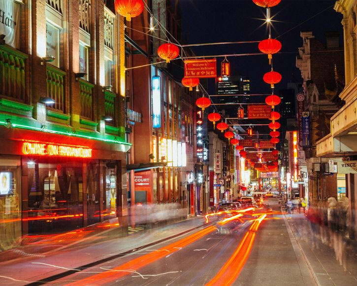 Red lanterns hanging above Chinatown, Melbourne
