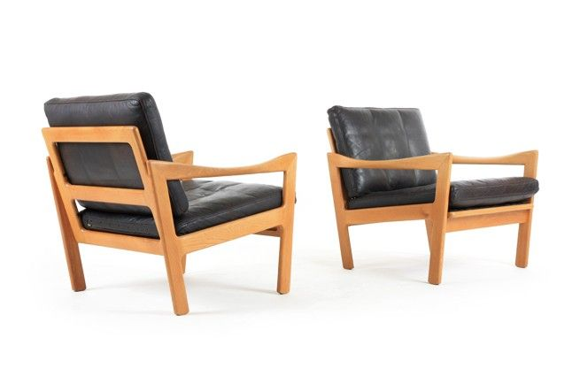 Pair of Illum Wikkelso Armchairs for N. Eilerson - Mr. Bigglesworthy Designer Vintage Furniture Gallery