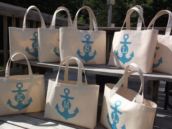 Wedding Weekend Gift Bag Ideas : beach wedding bag nautical anchor monogram bridesmaid bag beach bag ...