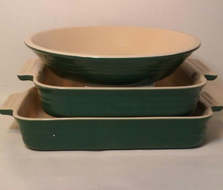 Le Creuset Green Stoneware(3) Pie Square Casserole Dish Oblong Lasagna Bakeware