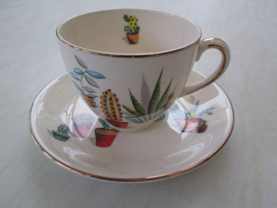Meakin cup and saucer with a cactus
