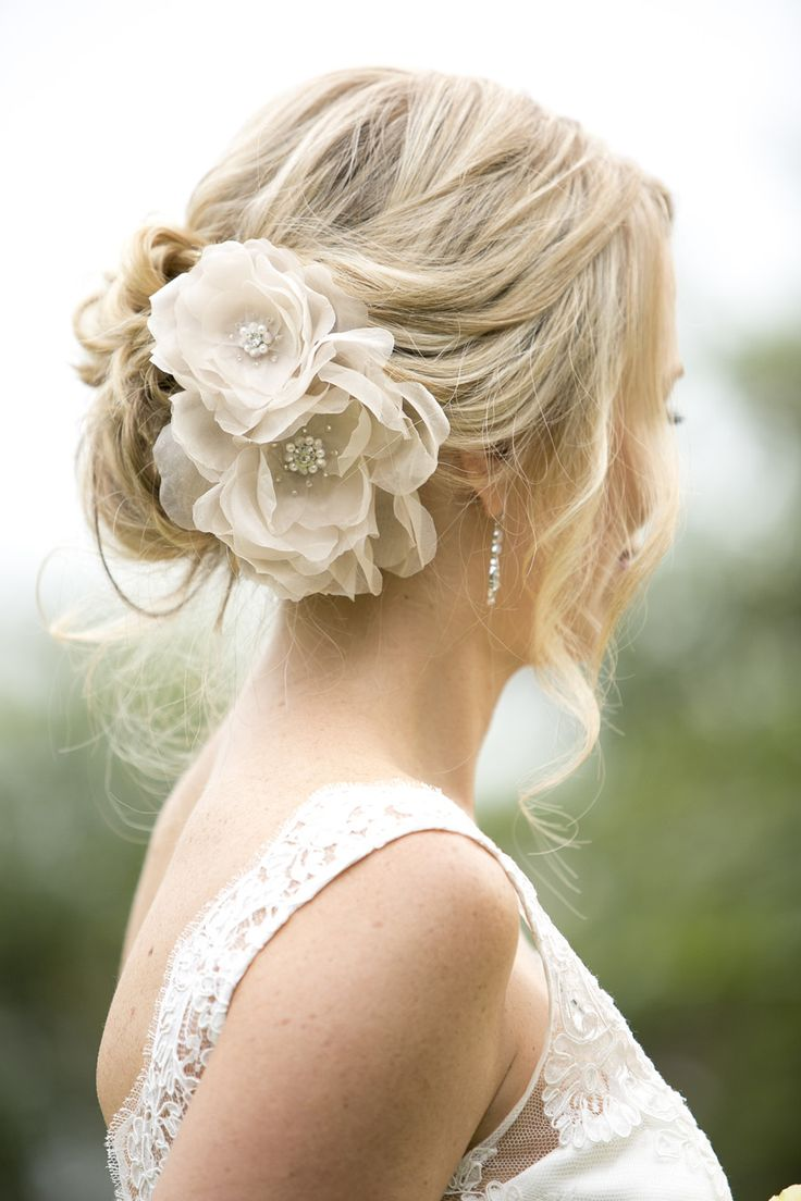 """Nicole wearing the """"Large english rose comb"""" in blush with custom beaded centres from Kristi Bonnici Bridal collection."""