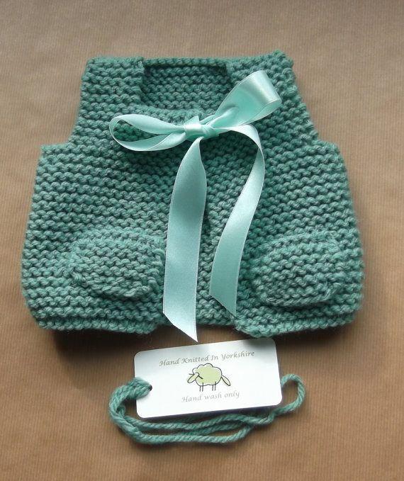 Hand Knitted Baby Girl Vest Gilet Jade by HandKnittedYorkshire