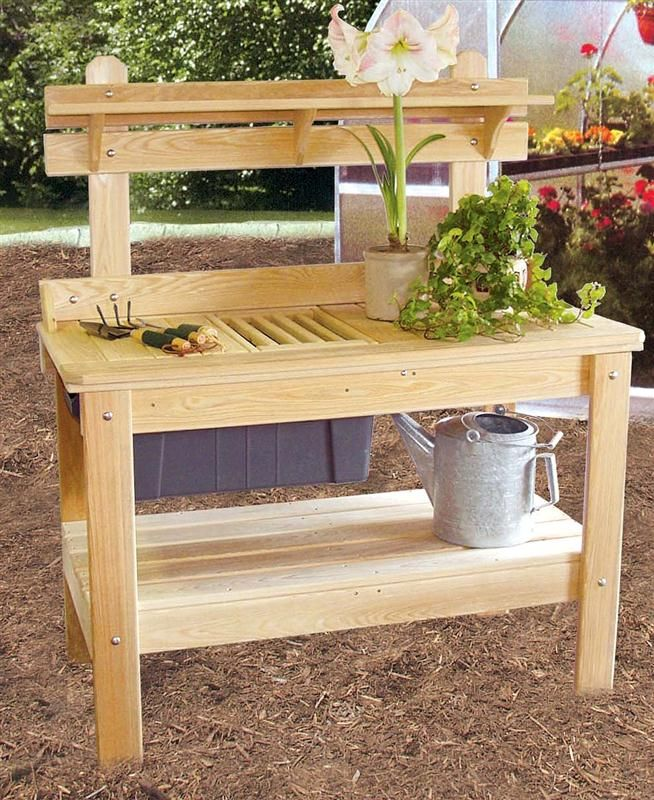Outdoor Cypress Wooden Potting Table A