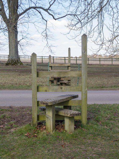 Two stiles, Blenheim Park near Woodstock, Oxfordshire ...