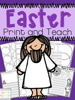 Use these printables to teach a Unit on the Easter story during Easter. These worksheets will reinforce material taught about the Easter Story. These are great for the Christian school classroom and Sunday Schools. This product includes:Spin and WriteEaster ScrambleWriting PagesVenn DiagramBubble MapPlay-dough Mats/PostersRetell the Story PagesNot for Resale or Distribution Copyright 2014: Bonnie Kathryn Kinders and Beyond