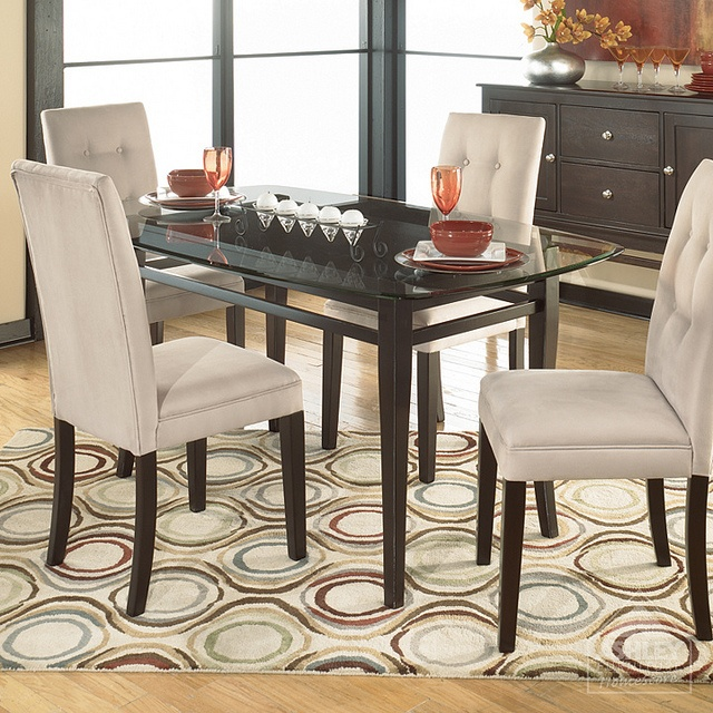 Newbold Glass Top Dining Room Set With 4 Chair Options Signature Design By Ashley