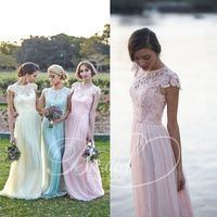 2015 chifon y encaje vestidos de novia de baile Vestido con gorra mangas Vestido de Festa