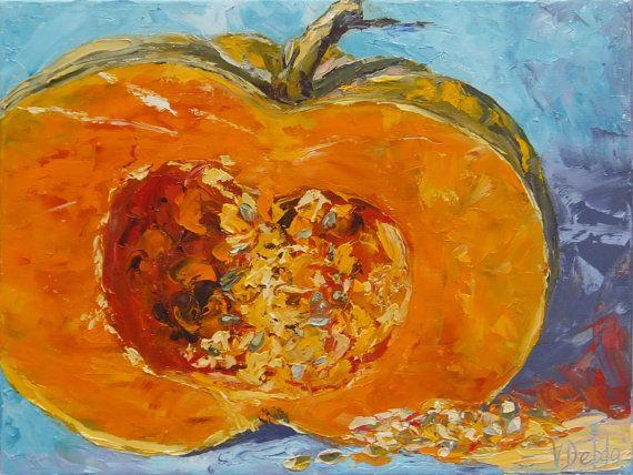 Original impasto oil painting,pumpkin painting, bright picture, perfect decor,painting Kountry Kitchen Decor,Orange still life,palette knife
