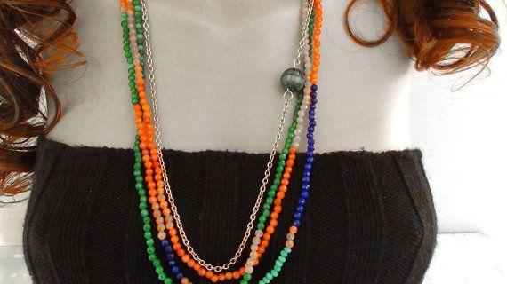 Multistrand necklace  Agata necklace  OOAK  di Frammentidivetro