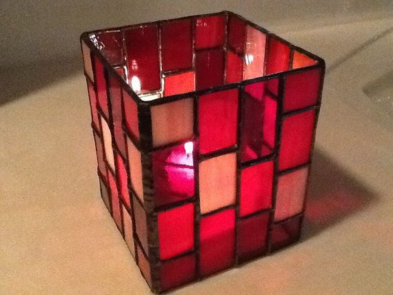 A handmade stained glass candle holder made from by HamptonsWorks, $40.00