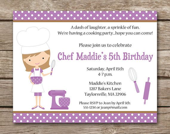 29 best Kids Birthday Ideas images – Kids Cooking Party Invitations