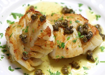 Hazelnuts and lemon come together in this recipe for stripped bass.