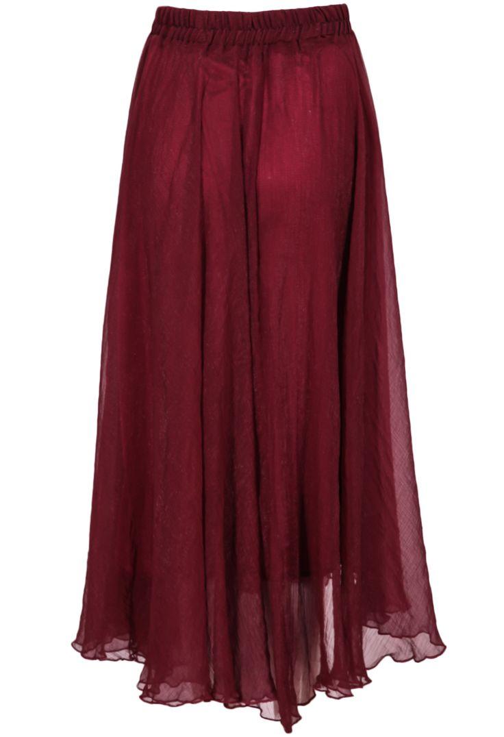 Wine Red Elastic Waist Chiffon Pleated Skirt 19.17
