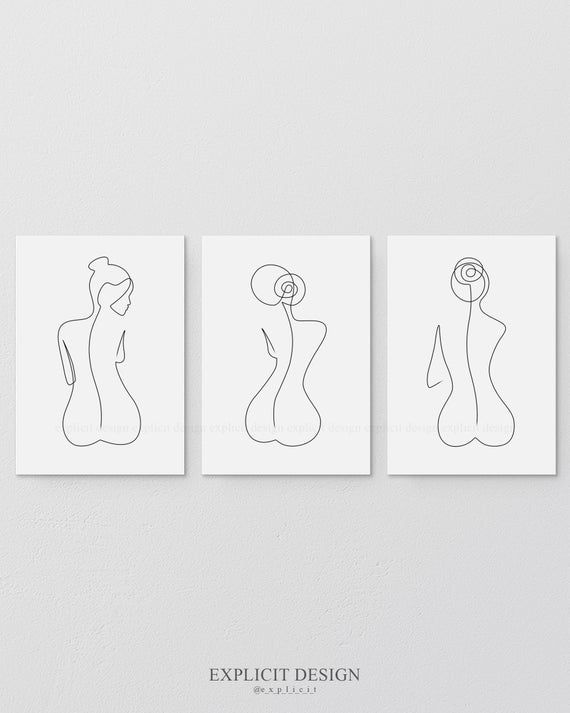 One Line Female Back Form Printable Set Of 3 Minimalist Bare Ass Woman Body Figure Wall Art Gallery Bare Bottom Print Butt Illustration Body Art
