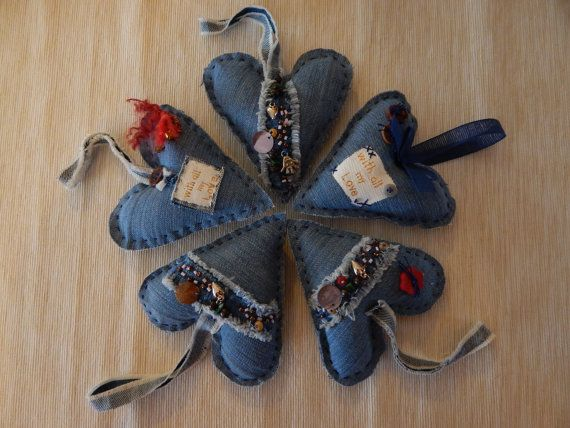Jeans Rock Heart Ornament by cuoredamore on Etsy