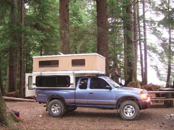 FourWheel pop-up camper on small Toyota truck