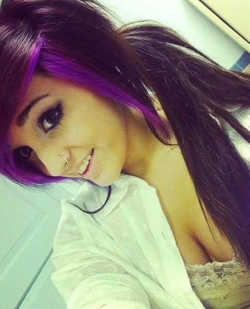 Purple color hair framed with bright purple streaks
