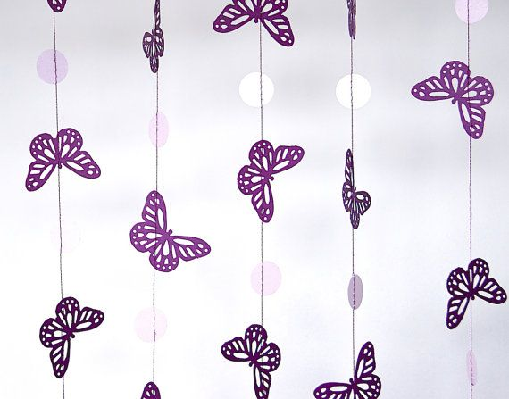 Purple Butterfly Paper Garland, Bridal Shower, Baby Shower, Party  Decorations, Birthday Decor