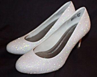 White Glitter Bridal Shoes Wedding Flats by AshleyBrooksDesigns