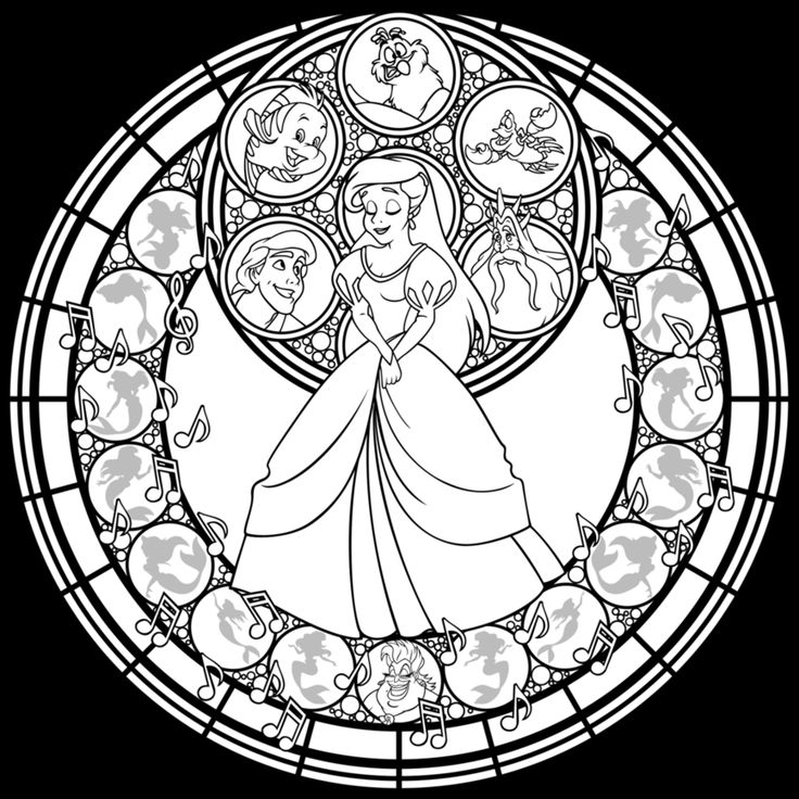 Stained Glass Ariel Remastered Line Art By Akili Amethyst On DeviantArt Disney Coloring PagesAdult