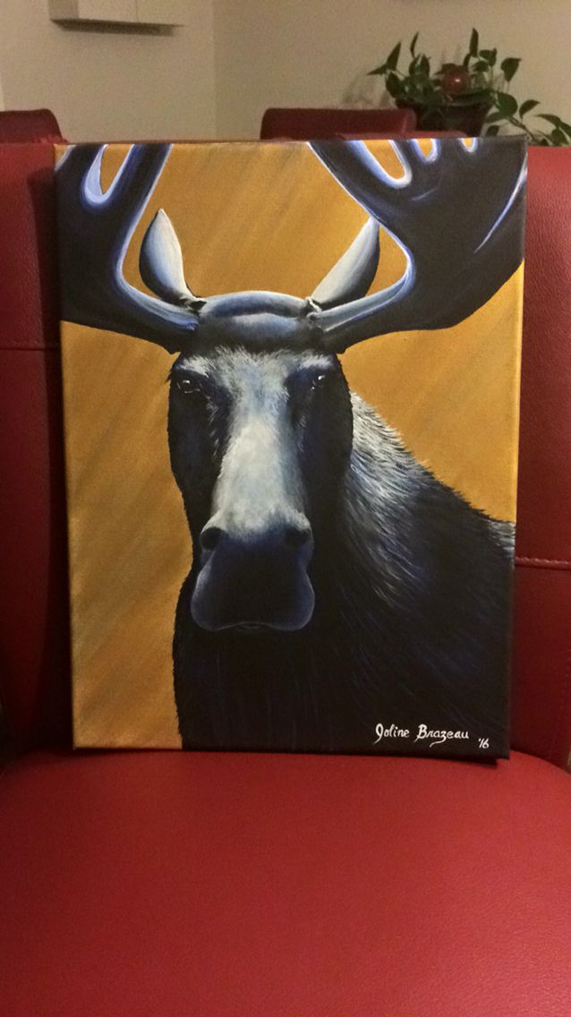 11x14 acrylic moose painting with blue highlights