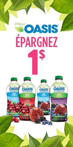 Coupon postal pour les jus Oasis Nutrisource.  http://rienquedugratuit.ca/coupons/coupon-postal-pour-les-jus-oasis-nutrisource/