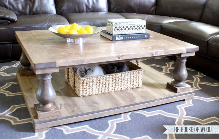 Build a DIY Restoration Hardware-inspired balustrade coffee table with this tutorial by Jen Woodhouse of The House of Wood and free plans by Ana White.
