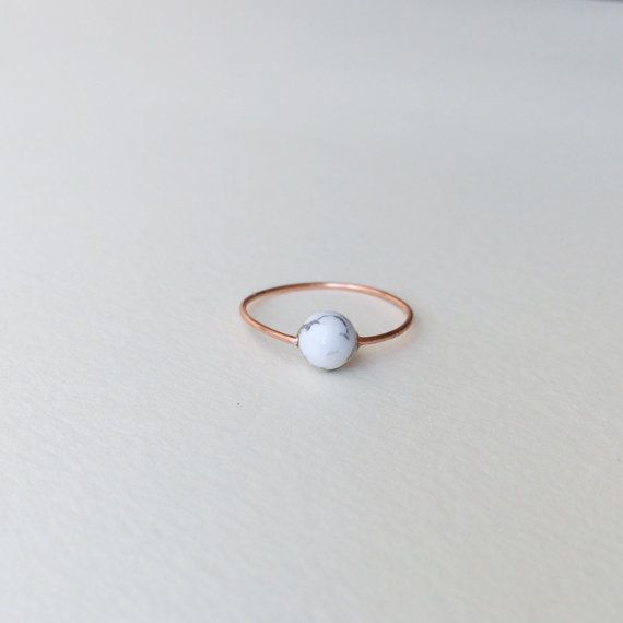 Copper marble minimalist ring / womens white black by nutmegan