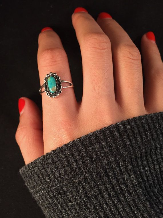 Sterling silver Turquoise Ring. Size 8.5 by BellaRubyJewelry