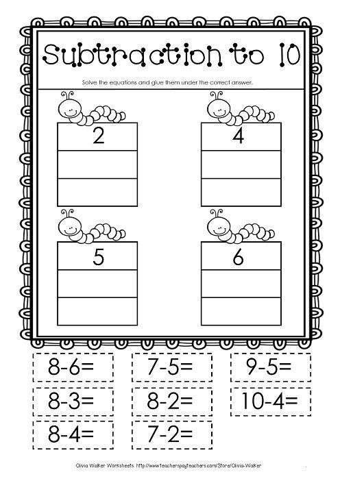 Free Takeaway worksheet! Subtract to 10 cut an paste!