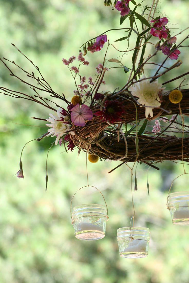 DIY: floral, twig wreath chandelier