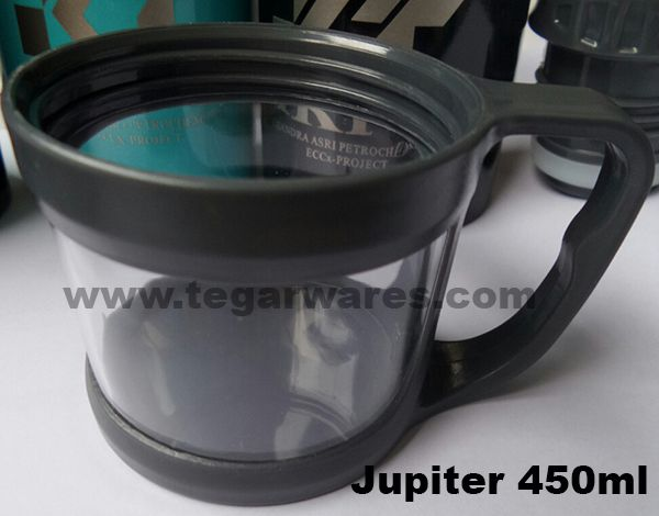 Caps on Jupiter flask equipped with a handle has a dual function as a cap and as the cup.